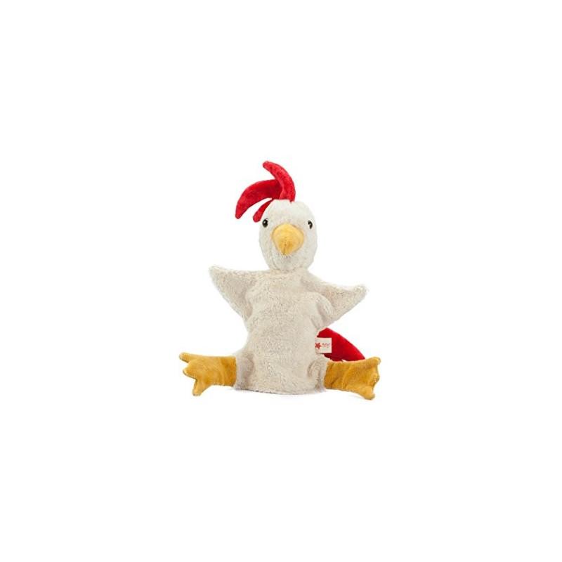 Marionnette doudou coq, gockel en coton bio, jouet naturel Kallisto