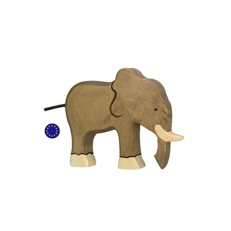 Eléphant, figurine animal, jouet en bois waldorf steiner et montessori de Holztiger