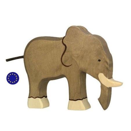 Figurine éléphant, animal en bois  Holztiger