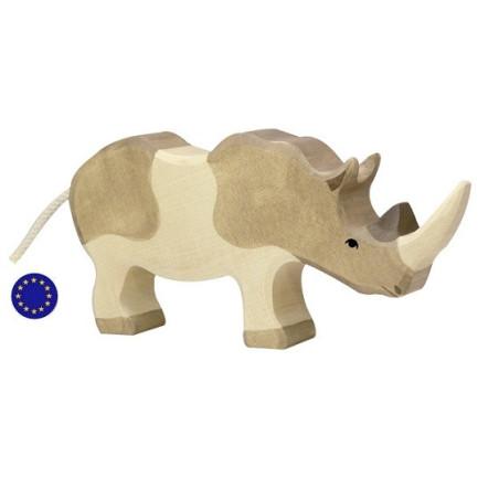 Figurine rhinocéros, animal en bois  Holztiger