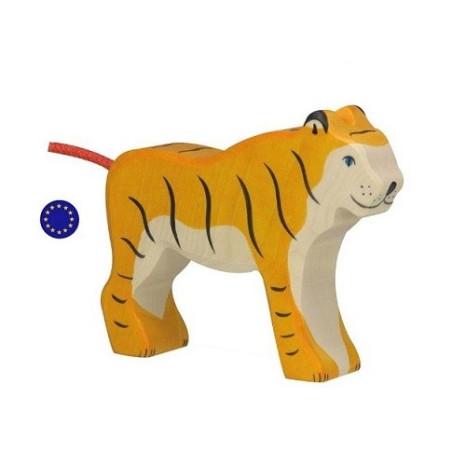 Figurine tigre, animal en bois  Holztiger