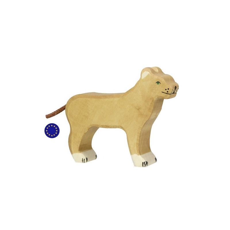 Figurine lionne, animal jouet en bois steiner waldorf et montessori Holztiger