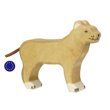 Figurine lionne, animal en bois  Holztiger