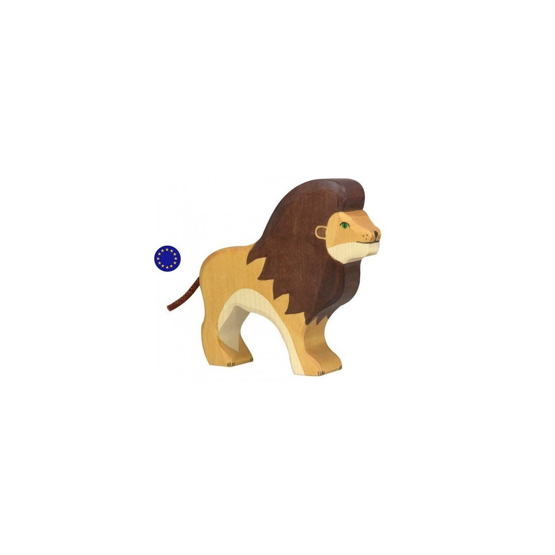 Figurine lion, animal jouet en bois steiner waldorf et montessori  Holztiger