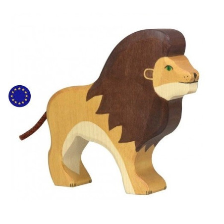 Figurine lion, animal en bois  Holztiger