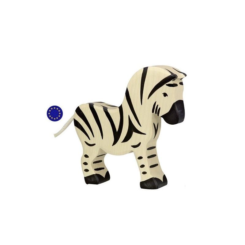 Figurine zèbre, animal jouet en bois steiner waldorf et montessori Holztiger goki