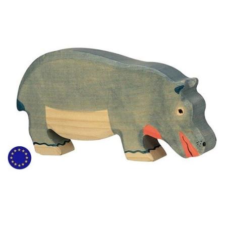 Figurine hippopotame, animal en bois  Holztiger