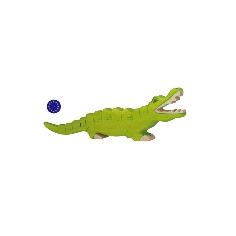 Figurine crocodile, animal jouet en bois steiner waldorf montessori  Holztiger