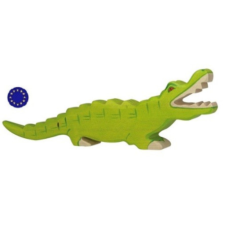 Figurine crocodile, animal en bois  Holztiger