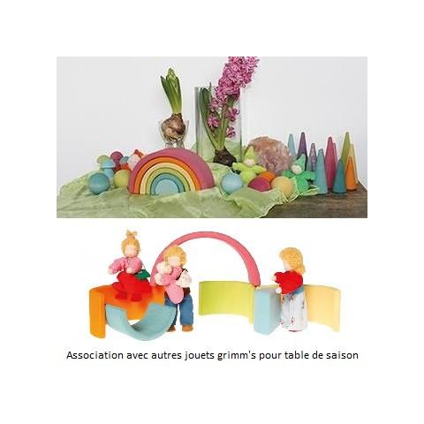 Arc en ciel moyen pastel, jouet en bois steiner waldorf et montessori Grimm's strasbourg