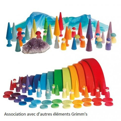 Forêt, cônes de construction, jouet en bois steiner waldorf Grimm's