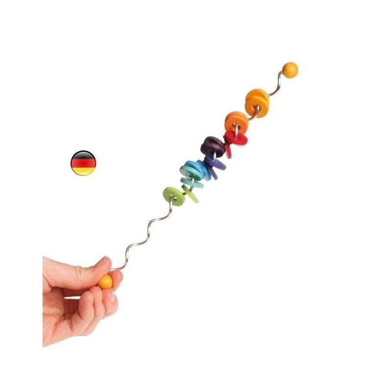 Spirelli mini, baton spirale musical de perles arc en ciel, jouet en bois Grimm's