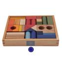 cubes de construction en bois, 30 blocs colorés naturel, jouet ecologique steiner waldorf de wooden story