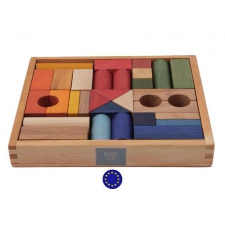 blocs en bois coloré, coffret de 30