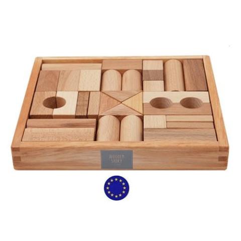cubes de construction en bois naturel, 30 blocs jouet en bois steiner waldorf  wooden story