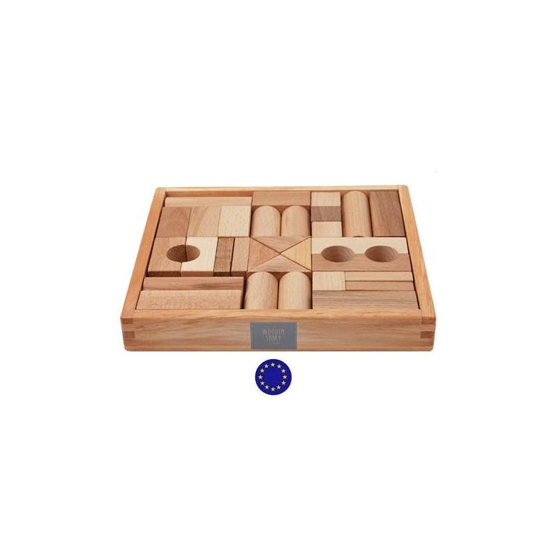 30 blocs en bois naturel jeu de construction wooden story for Jeu de construction en bois 4 ans