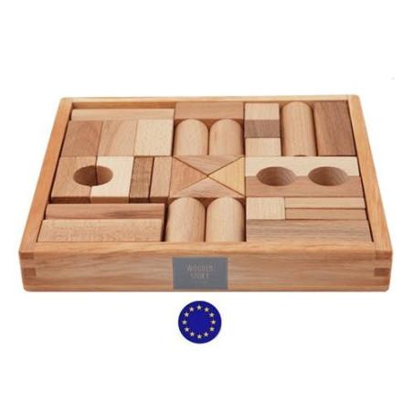 blocs en bois naturel, coffret de 30