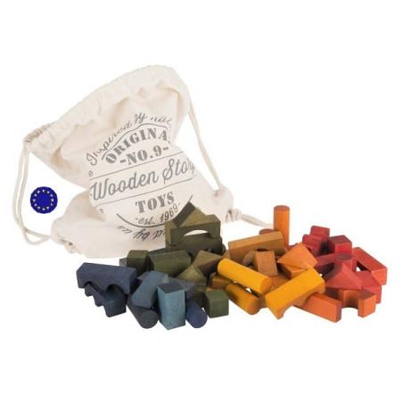 Blocs en bois coloré, sac de 50