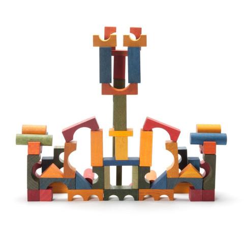 sac de 50 cubes de construction en bois, blocs colorés naturel, jouet ecologique steiner waldorf de wooden story