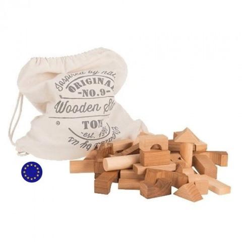 Blocs en bois naturel, sac de 50