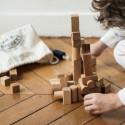 sac de 50 cubes et blocs de construction en bois naturel, jouet ecologique steiner waldorf de wooden story