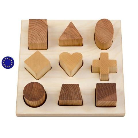 Puzzle encastrement de formes en bois naturel varié, jouet montessorie t steiner waldorf de wooden story