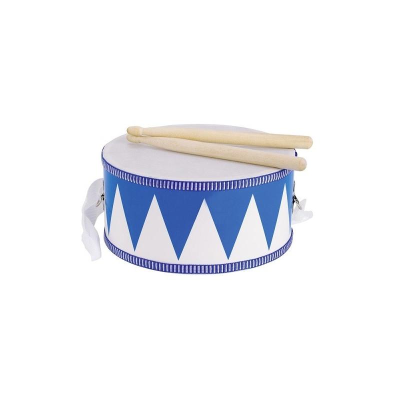 tambour de défilé enfant, avec lanière et baguettes en bois, jouet de goki