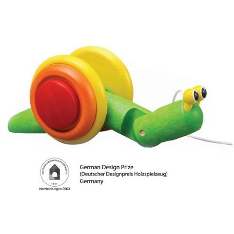 Escargot à tirer, jouet en bois Plan toys