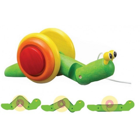 Escargot à tirer, snail, jouet éveil en bois ecologique et éthique Plan toys