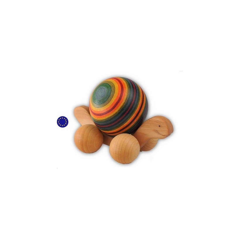 Tortue à boule à rouler arc en ciel, jouet en bois steiner waldorf