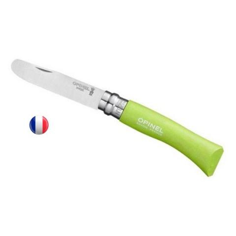 Opinel vert, couteau à bout rond pour enfant, fabrication france