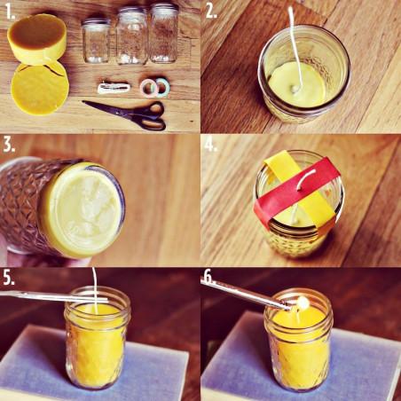 lit bougie : 1kg de Cire d'abeille et mèche, steiner waldorfdipam