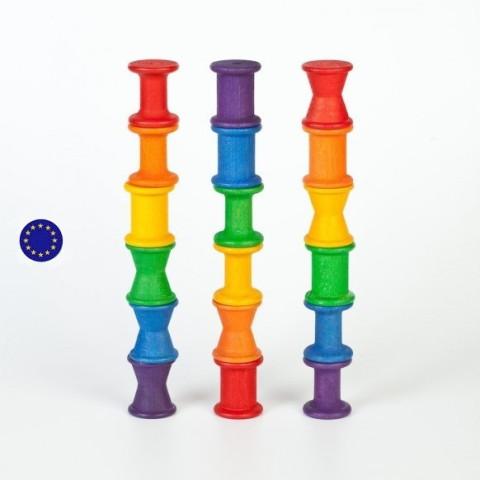 18 bobines bois coloré, jouet Grapat