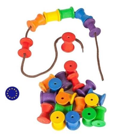 18 bobines bois coloré, jouet libre steiner waldorf montessori Grapat