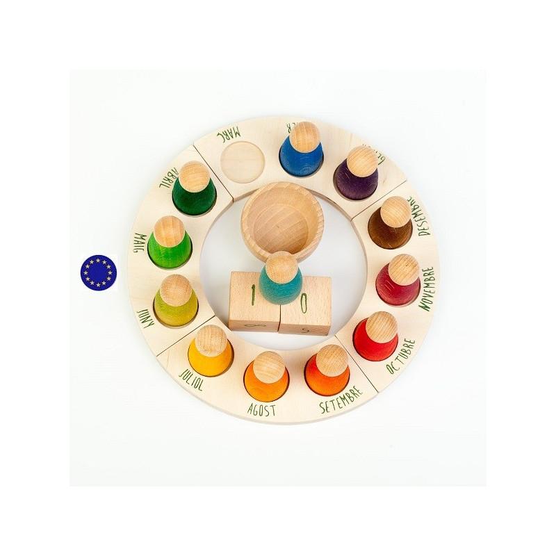 Calendrier perpetuel et Nins®en français, jouet en bois steiner waldorf et montessori Grapat