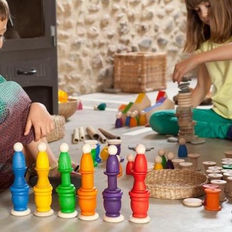 6 Nins® et bol, 6 amis et leur nid, jouet en bois steiner waldorf Grapat