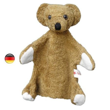 Marionnette ours, doudou en coton bio Kallisto