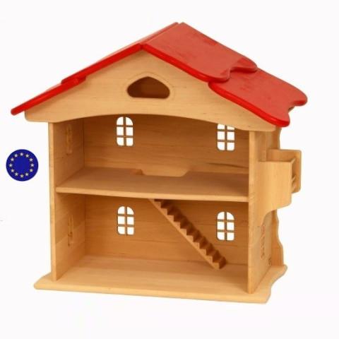 Maison de poupée, toit rouge, en bois