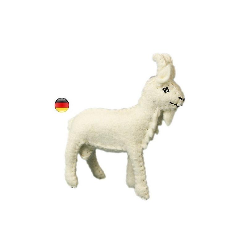Chevre, figurine animal en feutrine, jouet ecologique, ethique waldorf steiner Gluckskafer