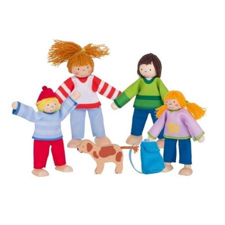 Famille en vacances, poupées flexibles en bois