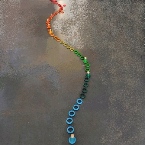 36 Anneaux arc en ciel, 12 couleurs, jeu d'association et tri, jouet libre en bois Grapat