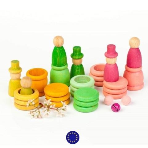 Nins® des saisons et anneaux : printemps, jouetlibre en bois ecologique et ethique grapat