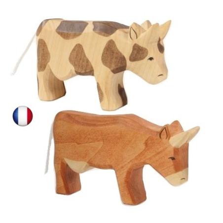 Figurine vache, animal en bois