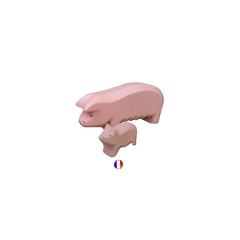 truie, Figurine cochon, animal, jouet en bois steiner waldorf de atelier des peupliers