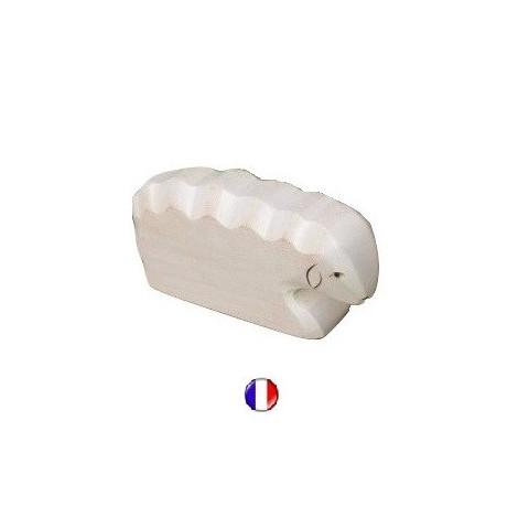 Figurine brebis couchée, animal en bois