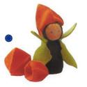 kit poupée lanterne physalis, en feutrine pour table de saison steiner waldorf, de witte engel