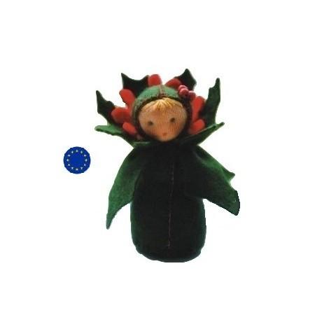 kit poupée houx, en feutrine pour table de saison steiner waldorf, de witte engel