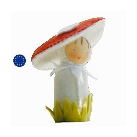 kit poupée champignon, en feutrine pour table de saison steiner waldorf, de witte engel