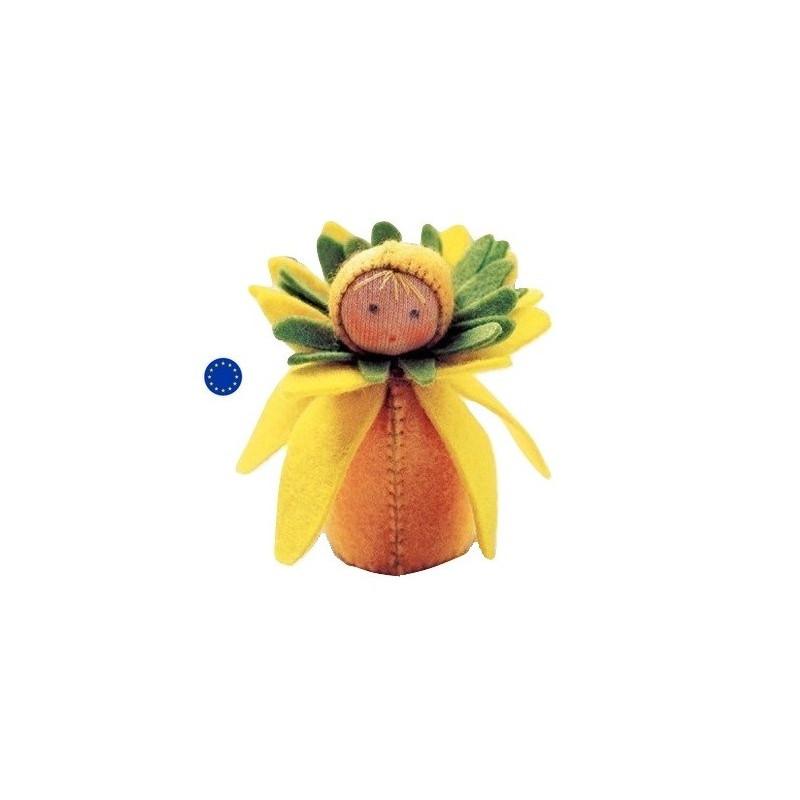 kit poupée narcisse, jonquille, en feutrine pour table de saison steiner waldorf, de witte engel