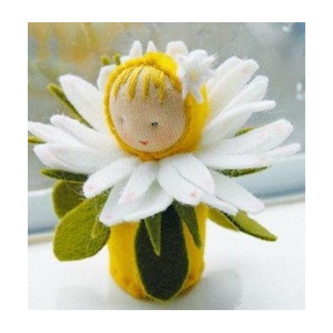 kit poupée fleur paquerette, en feutrine pour table de saison steiner waldorf, de witte engel